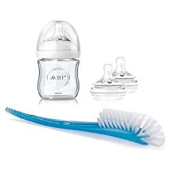 Philips Avent Natural Glass 4-oz. Bottle 1-Pack with Medium-Flow Nipple 2-Pack & Bottle and Nipple Brush