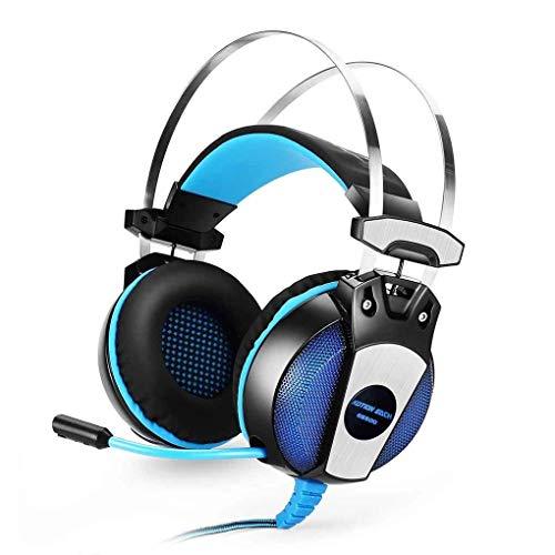 et GF & el- Haarband Spiel Kopfhörer mit Mikrofon Stereo Bass LED Licht für PS4PC Computer Laptop Handys Schwarzblau ()