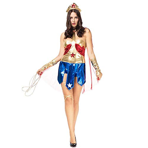 FrebAfOS Halloween-Comic-Held Charakter zu Spielen Uniform, Wonder Woman Super-Heroine, Bühnenkostüm, M, Medium