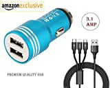Fast Car Charger 3.1 AMP for Samsung Galaxy Gio S5660 / Samsung Gio S 5660 Dual Port USB Car Charger | High Speed Rapid Fast Turbo Metal Android & Tablets Car Mobile Charger with 3 in 1 android type-c and ios USB Data Cable | Smart Charging with Quick Charge[ Multi-Colour ]