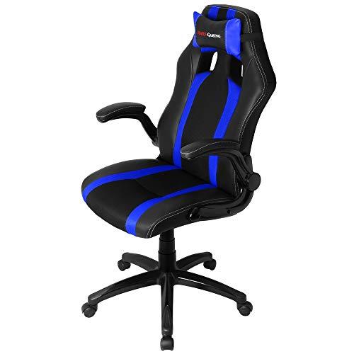 Mars Gaming MGC2 Sillas Gaming Profesional, Poliuretano, Azul, 70x30x55 cm