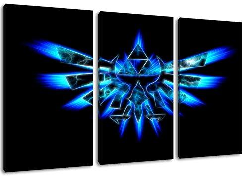 Dark Hyrule Emblem , Zelda Motiv, 3-teilig auf Leinwand (Gesamtformat: 120x80 cm), Hochwertiger Kunstdruck als Wandbild. Billiger als ein Ölbild! ACHTUNG KEIN Poster oder Plakat! (Call Of Duty 4 Nintendo Ds)
