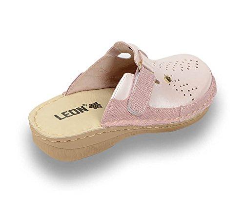 LEON V261 Zoccoli Sabot Pantofole Scarpe Pelle Donna Perla