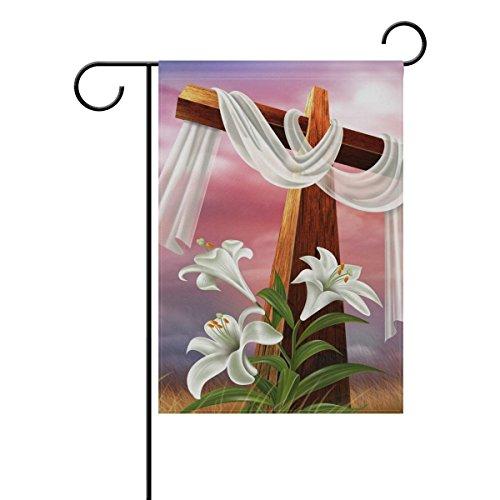 Jkimiiscute Ostern Auferstehung Kreuz Lily Garden Flagge Polyester-Home-Schimmelresistent Herzlich House Willkommen Banner, 68,6x 94cm (Kreuz Winter-willkommen)