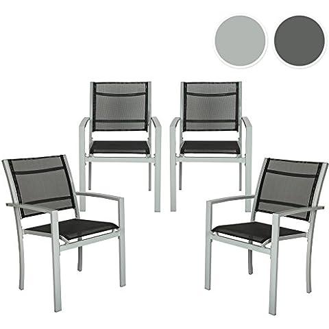 TecTake Juego de 4 Sillas de jardín sillón balcón terraza silla de exterior - disponible en diferentes colores - (Gris | no. 402067)