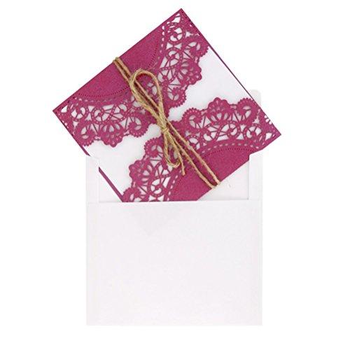 ULTNICE 10Pcs hohlen dekorative Hochzeitseinladung Grusskarte mit Spitze Umschlag für Hochzeit Geburtstag Verlobung Party lila