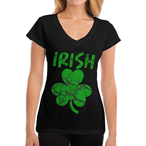 Henrnt Damen T-Shirt, Premium Tee Shirts Irish Novelty ST Patricks Day Womens Fashion Short Sleeve V-Neck T-Shirt (Kraut Vakuum)
