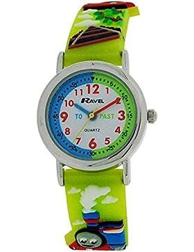 Ravel Funtime Jungen 3D Choo Choo Zug Design Time Teacher Strap Armbanduhr r1513.62a