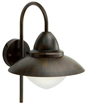Außenwandleuchte 1-flammig Sidney Farbe: Braun Antik / Stahl, Mit Sensor: Nein von EGLO Leuchten auf Lampenhans.de
