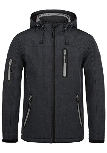 Indicode Ottawa Herren Softshell Jacke Funktionsjacke Übergangsjacke Mit Kapuze Und Fleece-Futter, Größe:XXL, Farbe:Black (999)