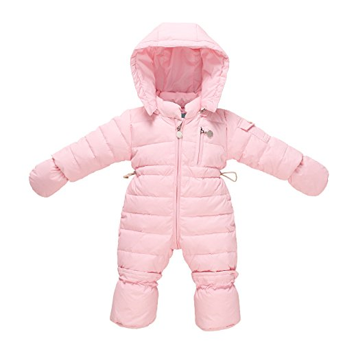 g mit Handschuhe Footies Mädchen Overalls Winter Spielanzug mit Kapuze, Rosa 3-6 Monate (Rosa Footies)