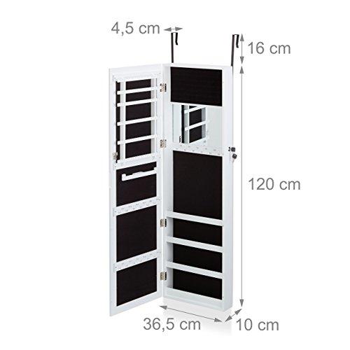 Relaxdays Schmuckschrank mit Spiegel, Schmuckkasten hängend für Tür, Schmuck Spiegelschrank, HxBxT: 120x36,5x10cm, weiß - 3