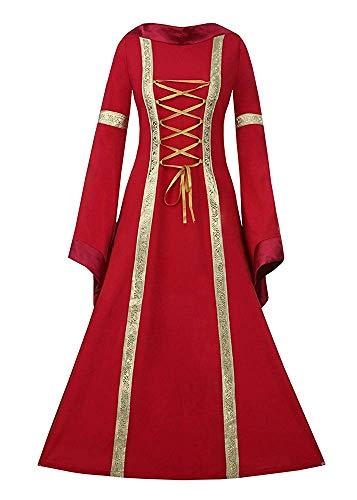 (Gemijacka Damen Mittelalter Kostüm Hoody Langarm Maxikleid Prinzessin Renaissance Kleidung)