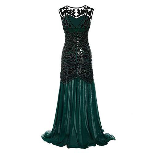 Elegant Jahrgang Rundausschnitt Sequenziert Pailletten Patchwork ärmellose Maxi Lange Abendkleid (Grün,EU-38/CN-XL) ()