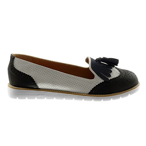 Angkorly Chaussure Mode Mocassin slip-on semelle basket femme frange pom-pom perforée Talon plat 2.5 CM Noir