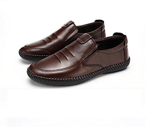 GRRONG Chaussures En Cuir Pour Homme En Cuir Véritable Loisirs Respirant Noir Marron brown