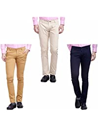 Nimegh Cream, Navy Blue and Wine Color Cotton Casual Slim fit Trouser For Men's (Pack Of 3)