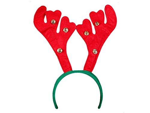 Cerchietto Natalizio Corno di Renna Rosso e Campanelli (wm-21) Verde Accessorio per Natale Taglia Unica per Bambini Adulti Ragazzi di Alsino