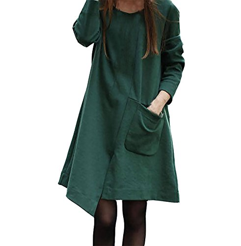 Damen Normallacks Langarm Irregular Tasche Strickkleider Jerseykleider A-Linie Kleid (XXXL, (Fee Kleid Grüne)