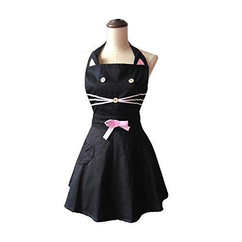 Open Buy Tablier vintage à motif de chat avec nœuds et boutons, noir