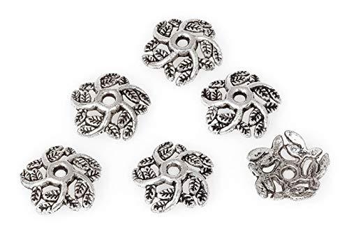 Calottes déco pour perles « Fleurs 2 », 6 pc.