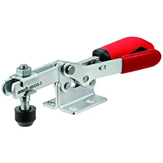 JW Winco Series 6830-S Steel Horizontal Acting Toggle Clamp with Safety Interlock and Horizontal Mounting Base, Metric Size, Clamp Size 4, 2000/3000 Newton Holding Capacity