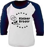 Baby/Kinder Baseball Langarm T-Shirt (Farbe: Weiss-Navy) (Gr. 98/104) Kleiner Bruder