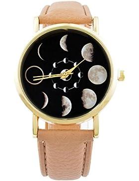 MJartoria Damen Armbanduhr Quarz Uhr Modeschmuck PU Lederarmband Mode Design Mond Muster Braun