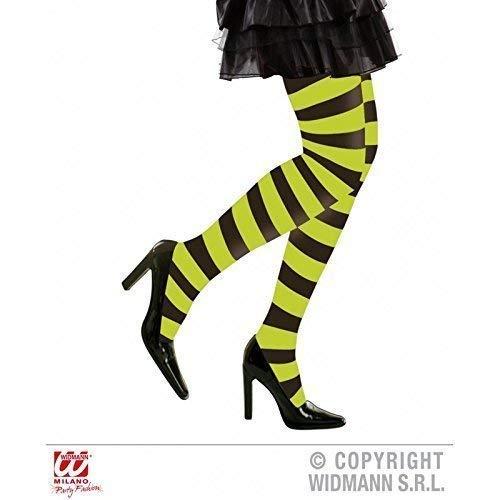 Lively Moments Strumpfhose grün schwarz gestreift für Damen in XL für Fasching / Halloween als Halloweenkostüm oder Hexenkostüm Zubehör