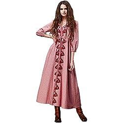 Happy Lily Mujer Vintage Boho bordado Lino & Algodón 3/4Manga Cuello Empire de la cintura largo vestidos, mujer, rosa, large