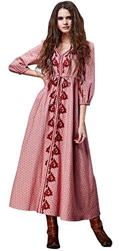 Happy Lily Damen Boho Vintage-Stickerei Leinen & Baumwolle 3/4Ärmel V-Ausschnitt Empire Taille lang Kleider Medium rose (Wrap Front Robe)