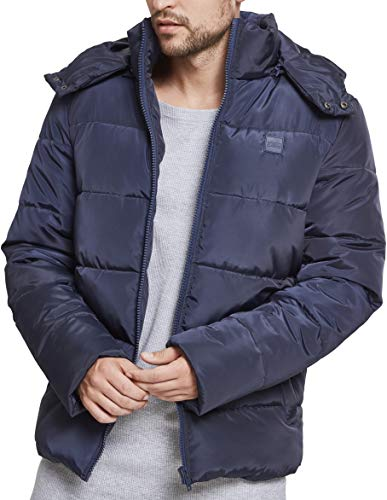 Urban Classics Herren Jacke Hooded Puffer Jacket, Navy, 3XL