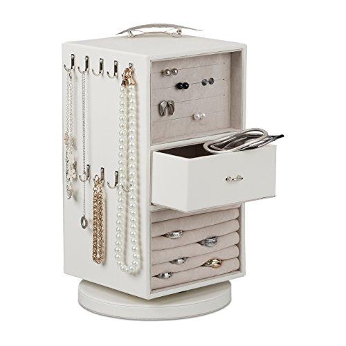 Relaxdays Schmuckkasten drehbar, kompakter Schmuckschrank, Spiegel, Schublade, Schmuckständer HBT 30 x 16 x 18 cm, weiß