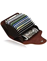 Royalfy Credit Card Organizer Wallet Small Money Cases Holder Leather Mini Purse For Men Women (Light Brown)