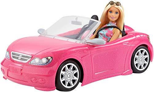 Barbie FPR57 - Puppe und Cabrio Auto in pink, Puppen und Puppenzubehör Spielzeug ab 3 Jahren