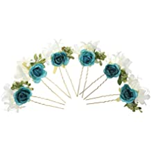 6pcs Horquillas de Flores Pelo de Palillo Guirnalda Accesorios Novia