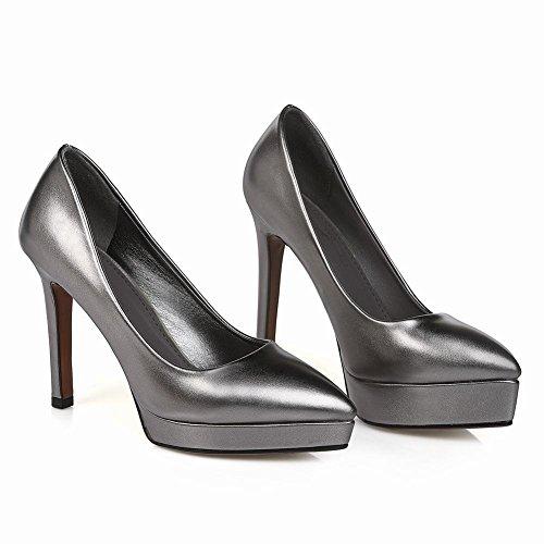 Mee Shoes Damen modern reizvoll populär Stiletto Geschlossen spitz Plateau Pumps Taupe