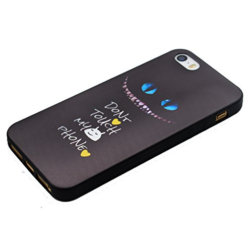 Hülle für iPhone SE 5 5S 5G, Schwarz Silikon Schutzhülle für iPhone SE 5 5S 5G Case TPU Bumper Handyhülle, Cozy Hut ® [Thin Fit] [Schock Absorption] Soft Flex Silikon Schlanke Hülle [Schwarz] Premium  Haustierkatze