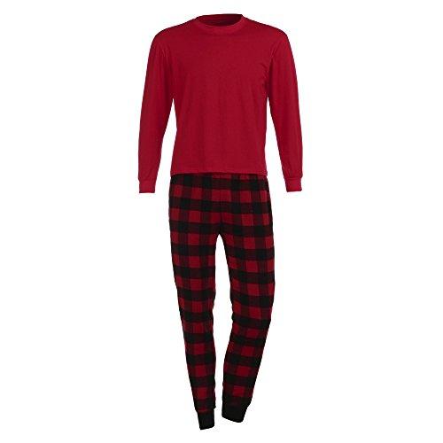 Batnott Weihnachten Familie Kleidung Set Männer Bluse T Shirt Tops Plaid Hosen Pyjamas Herren Herbst Winter Sweatshirt Oben Christmas Pullover Xmas Shirt Täglich Freizeit (Pyjamas Familie Plaid)