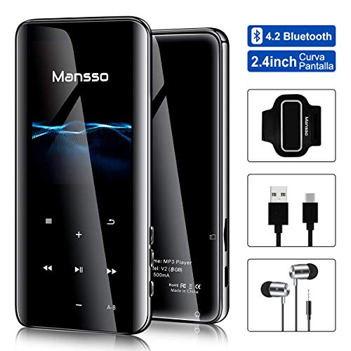"Reproductor de MP3 2.4"" 3D Curva Pantalla Running MP3 8GB Bluetooth 4.2 FM Radio Reproductor de Video Botón Táctil Altavoz de Música, Grabarora de Voz Soporte hasta 128GB"