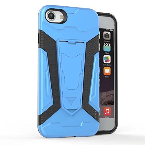 EKINHUI Case Cover Neue Rüstung Tough Style Dual Layer Hybrid Armor Defender PC Hard Shell Cover mit Kickstand [Shockproof Case] ​​Für IPhone 7 ( Color : Black ) Blue
