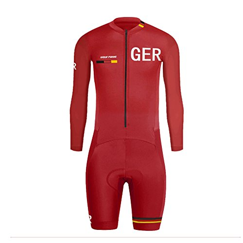 Uglyfrog Herren Triathlon Tri Suit Long Sleeve Quick Dry Skinsuit - Triathlon-Rennanzug mit erweiterter Zippers Breathable & Durable Cycling Suits
