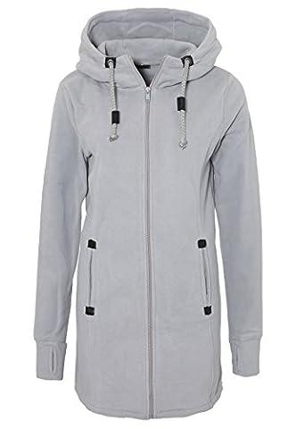 SUBLEVEL Damen Micro Fleece Mantel | Lange Fleece-Jacke mit Kapuze | Warme Übergangsjacke light-grey
