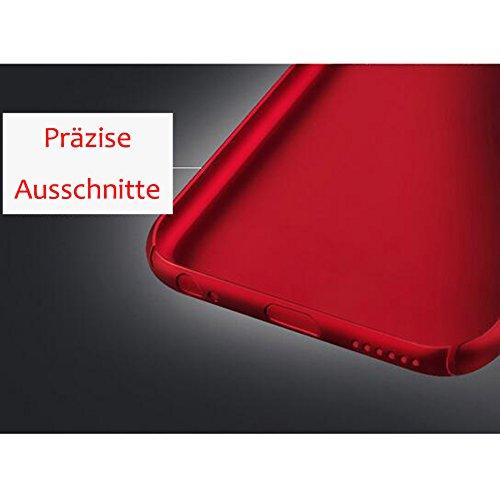 Rosso iPhone 8Plus Ultra Sottile 0.9mm Custodia Matte Case Cover + Rosso Copertura Completa Pellicola Protettiva + anello rosso del supporto del basamento, sunavy 3in 1Anti Urti Anti Graffi 360gr Rosso 3