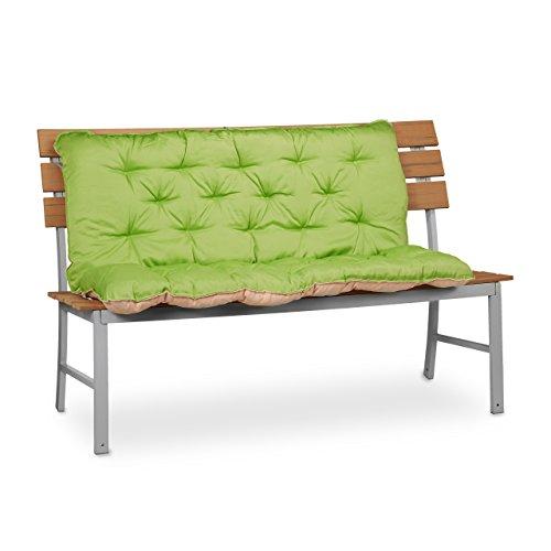 Relaxdays Cojín para Banco de Exterior, Algodón-Poliéster, Verde, 96x119x10 cm