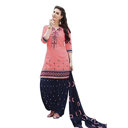 Kvsfab Women's Cotton Patiala Salwar Suit Dress Material, Peach & Blue [KVSSK7561PA_42]