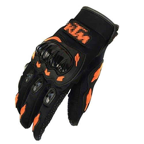snfgoij Männer Handschuhe Für Motorrad Radfahren Sport Handschuhe Training Outdoor Schutz Radfahren Sport Handschuhe Voller Finger Cross Country,Orange-L -