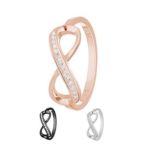 Treuheld® | Ring - Unendlichkeit/Infinity | 925 Sterling Silver | in Roségold mit Zirkonia - Kristallen | Ringgröße 56 | Breite 2mm | Damen