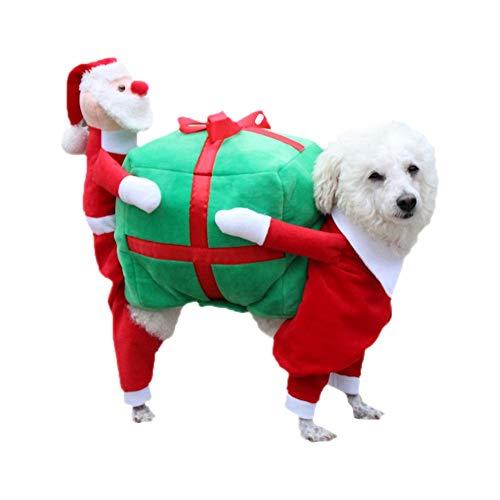 (GTTBS Weihnachts Hunde-Kostüme Lustige Santa Claus Hundebekleidung Hund Geschenk Welpen Fleece Mantel Warme Winter PET Kleidung Rot / 5 Größe,Red,XXL)