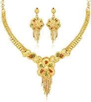 Sukkhi Ravishing 24 Carat Gold plated Wedding Jewellery Choker Necklace Set for Women (N73732)